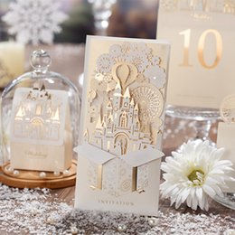 castle wedding invitation cards UK - Wishmade Champagne Gold 3D Wedding Invitations Laser Cut Invitation Cards Bride and Groom Castle For Wedding event,Customizable