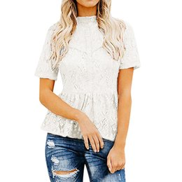 688335cae39216 T-shirt summer white Round neck Women's Short Sleeve Sexy Sheer Mesh Lace  Top T-shirts for women new arrival 2019 camisa mujer