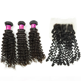 "nice human hair weave NZ - Brazilian Human Hair Weave with Closure Lace Top 8A 3pcs+1pc Deep Curly Hair Extension 12""- 30inch Nice Beauty Full Head Free Drop Ship"