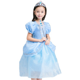 f87798a2f982c Summer Blue Cinderella Princess Cosplay Dress Girls Tulle Long Role Dress  Kids Ball Gown Halloween Party Birthday Clothes BW262