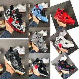 China Hot Release Authentic 4 Bred 4S IV Men Black Cement Grey Summit White 308497-060 Fire Red Shoes With Box. cheap leather fire boots suppliers
