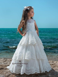 Wedding Cupcakes Blue Australia - Princess Tiered Lace Ruffles Cupcake Girls Pageant Dresses 2019 Appliques Beautiful Floor Length Flower Girl Gown Lace Up Kids Wedding Dress