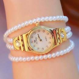 pearl bracelet wrist watch women NZ - BS BEE SISTER Women Pearl bracelet Watch Small Dial Bracelet Watch shell Quartz Wrist Watch Relogio Feminin Clock