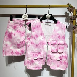 two piece outfit crop top skirt NZ - tie dye print outfit skirt Set 2 piece set women sets tracksuit cropped zipper tops + high waist mini skirts suits two piece set T200325