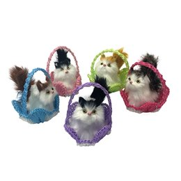 China 2019 new design Boutigue Mini Cute Simulation Cats Basket Cats Plush Toy Doll Creative Gifts Whole sale cheap boy toy dolls sale suppliers