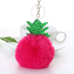 faux fur ball keychain UK - Fluffy Faux Fur Ball Pompom Keychain Women Bag Charms Christmas Tree Pineapple Key Ring Trinket Car Keyring Chains