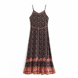 $enCountryForm.capitalKeyWord UK - QZ815 Women Vintage Spaghetti Strap Blossom Floral Print Long Dress Ladies Retro Viscose Maxi Dresses