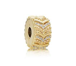 $enCountryForm.capitalKeyWord UK - Fits Pandora Bracelets 10Pcs Gold Crystal Buckle Fixed Clip Lock Charm Bead Stopper Beads For Wholesale Diy European Sterling Necklace