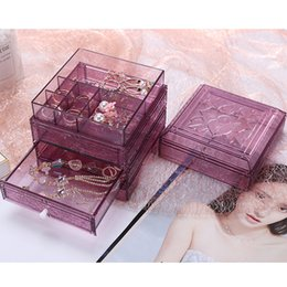 Drawer Desk Storage Boxes Australia - Clear Acrylic Jewelry Storage Case Jewelry Box Drawer Makeup Organizer Ring Earring Container Casket Jewelry Display Desk
