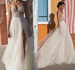 Discount vintage dress 14 - Gali Karten Beach Wedding Dresses Side Split Spaghetti Illusion Sexy Boho Wedding Gowns Sweep Train Pearls Backless Bohe