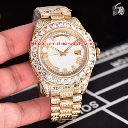 DiamonD gem stone online shopping - 7 Style Best Quality Perpetual mm Day Date k Gold Full Diamond Bezel Bracelet Roman Dial CAL Movement Automatic Watch Mens Watches