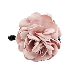 Fabric Flowers Hair Clip Australia - 1pc Hair Claw Clips Rose Flower Fabrics Resin Large Hair Clip Accessories Ponytail Holder for Women Ladies Girls