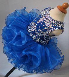 Mini Cupcake Black Australia - 2019 Jewel Beaded Diamond Glitz National Girls Pageant Dresses Cupcake Infant Tutu Gowns Toddler Baby Girls Ruffled Mini Birthday Gowns