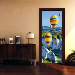 $enCountryForm.capitalKeyWord Australia - Creative DIY 3D Effect Door Sticker Gorge Hot Air Balloon Pattern for Room Wall Decoration Home Decor Accessories Waterproof Art Vinyl Decal