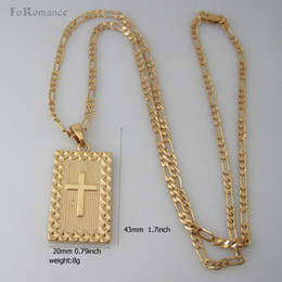 """Free Crucifix Pendant Australia - ORDER 10$ GET FREE SHIPPING  YELLOW GOLD GP FILLED 24"""" FIGARO NECKLACE&JESUS CROSS CRUCIFIX PENDANT RELIGION  Great Gift"""