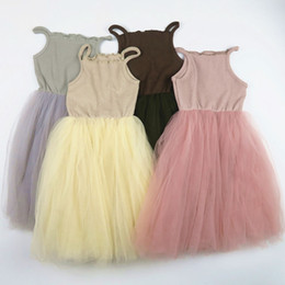 Wholesale Tutus Australia - Girls Sling Dress Mesh Cotton Ribbed Fabric Four Layers Encrypted Mesh Children Princess Dress Tutu