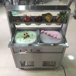 2020 fry ice cream machine Thailand roll fried ice cream machine double pan fried ice cream 1800W on Sale