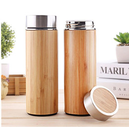 $enCountryForm.capitalKeyWord NZ - 450ml Double Wall Eco Friendly Stainless Steel Tea Drinking Tumbler Bamboo Water Bottle with tea infuser Custom logo Christmas Gift