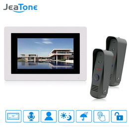 """$enCountryForm.capitalKeyWord Australia - JeaTone 7 """" Touch-Screen Wired Video Door phone Intercom Monitoring System Intercom Home Security System 2 Cameras with 1 Monitor"""