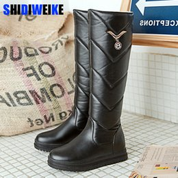 Snow Boots Size 42 Australia - Round Toe Winter Boots For Women Big Size 34-42 Round Toe Feathers Knee-High Boots Black pink White PU Warm Snow boots n531