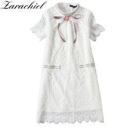 $enCountryForm.capitalKeyWord Australia - Brand Elegant Bow Tie Flower Hollow Out Lace Dress Women Summer Mini White pink Dress 2019 Vestidos Sequined Short Sweet Dress Y19073101