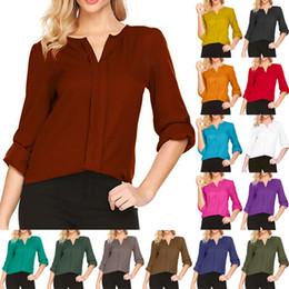 $enCountryForm.capitalKeyWord Australia - womens designer t shirts Solid color V-neck Long sleeve temperament Chiffon Blouse women clothes drop shipping