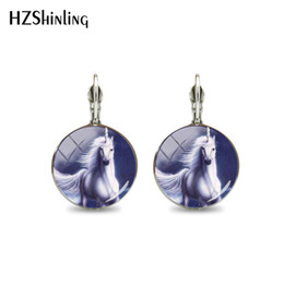 $enCountryForm.capitalKeyWord NZ - 2019 New Lovely Lucky Horse Glass Cabochon Silver Clip Earrings Hand Craft Jewelry Dome Clip Earring Gift for Women Accessories