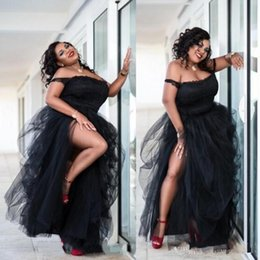 $enCountryForm.capitalKeyWord Australia - Black Plus Size Prom Dresses sexy Side Split Tutu Tulle Off The Shoulder Cheap Party Dresses Women Formal Wear South African Evening Gowns