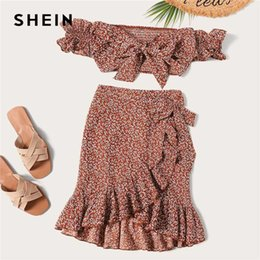 Wholesale floral shirred resale online – SHEIN Knotted Shirred Floral Bardot Top And Ruffle Wrap Skirt Set Boho Rust Asymmetrical Off Shoulder Summer Women Two Piece Set