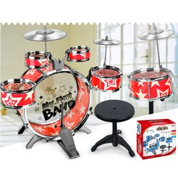 Plastic Pedals Australia - 6pcs Children drums Pedal toy Simulation jazz drum Musical percussion toy >3 years old musical instruments for children toy gift