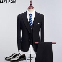 Men S Long Wedding Suit Australia - LEFT ROM 2018 Male brand Solid color men Long sleeve senior Wedding  dress Man Business affairs Suit Jacket+Vest+trousers S-4XL