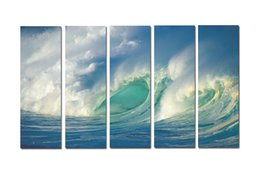 $enCountryForm.capitalKeyWord Australia - Large 5 Panel Modern Beach Canvas Print Surf Ocean Wave Seascape Painting Art Wall Home Decor Picture Contemporary For Living Room ASet133
