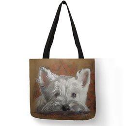 Projeto original Westie Cão Pintura Bolsa Para As Mulheres Sacos de Viagem de Compras Grande Capacidade Eco Lona Tote Bag Dropshipping venda por atacado