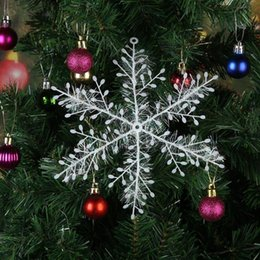 white snowflake tree decor Australia - 3pcs Christmas White Snowflake Xmas Trees Hang White Plastic Fake Snowflake Pendant Windows Party Decor