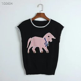 Chegam novas Design Original das mulheres Jacquard Oco Colete de Malha Do Bebê Elefante Sem Mangas T-shirt BrancoPreto S M L venda por atacado