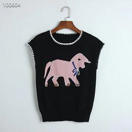 Nuovo arrivo Jacquard Hollow Vest donna con design originale Maglia lavorata a maglia Baby Elephant T-shirt senza maniche Bianco Nero S M L in Offerta