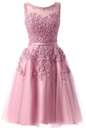 $enCountryForm.capitalKeyWord Australia - 2019 Chiffon A-line Tulle Lace Short Prom Dresses Applique Cocktail Formal Evening Party Dress Bridesmaid Wear Party Gown QC1355