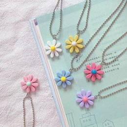 black figaro chain Australia - New Arrived Small Flowers Chain Daisy Pendant Necklaces for Women Candy Color Clavicle Chain Jewelry 2020 Collars