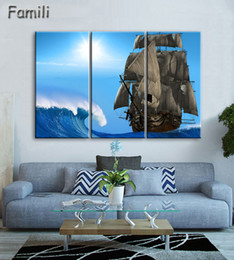 $enCountryForm.capitalKeyWord Australia - 20193pcs Art Modern sea green blue beach Wave picture decoration canvas painting wall picture for living room home decor unframed