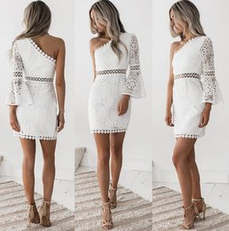 $enCountryForm.capitalKeyWord NZ - 2019 New Women's Clothing Solid Color Large Size High Waist Sexy Shoulder Lace Stitching Hollow Elegant Show Goddess Charm Long Sleeve Dress