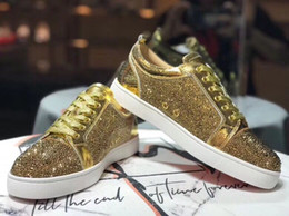 Box Brand Glasses NZ - Brand Design Gold,Sliver Glass Pattern Leather Strass Sneakers Shoes Fashion Style Red Bottom Party Walking With Original Box,Eu35-46