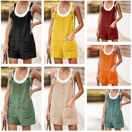 Discount korean girl suspenders fashion Girls Overalls Summer Jumpsuit Korean Style U Nack Sleeveless Casual cotton and linen Pocket Suspender Trousers Sports J