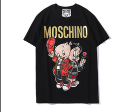 $enCountryForm.capitalKeyWord Australia - 2019 new European Italian brand embroidery and hot stamping letters blcg cartoon Couple pig womens and mens designer t shirts couple tshirt