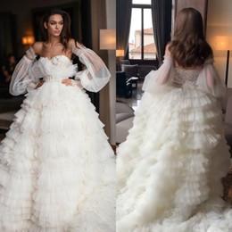 $enCountryForm.capitalKeyWord Australia - Tiered Skirts 2020 Wedding Dresses Lace Appliqued Long Sleeve Beads Sweep Train Boho Country Beach Wedding Dress Bridal Gowns Robe de soriee