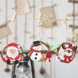 christmas trees rings gift NZ - Christmas Tree Hanging Ornaments Non-woven Rattan Ring Pendant Hanging Ornaments For Home Party Decor Gifts 0816#