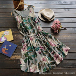 $enCountryForm.capitalKeyWord Australia - 1118 Women€s Summer Lovely Dress Flower Printing Lotus Mini Dress Chinese Old Style Sleeveless Holiday Dress Pop Tide Vestidos