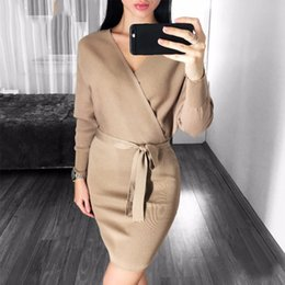 womens sweater dresses Australia - Autumn Winter Womens Fashion Sexy Cross V-neck Mini Dresses Female Batwing Long Sleeve Sash Knitted Sweater Dress