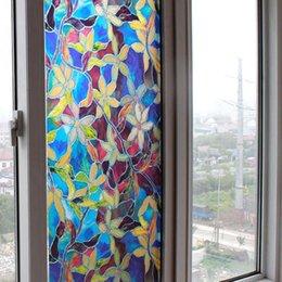 Ingrosso Pratica toilette Toliet PVC Autoadesivo Adesivo statico impermeabile Coprire Fiore macchiato Privacy Glass Window Film Sticker