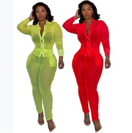 see through yoga Australia - Women Tracksuit Summer Cardigan Button Suit Jacket + Pants 2 Piece Set Casual Sports Long Sleeve Shirt Legging See-Through Clothes SuitE3201