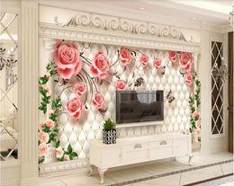 For Nursery Bags Australia - 3d room wallpaper custom photo mural European luxury romantic rose soft bag Roman column TV background wall wallpaper for walls 3 d